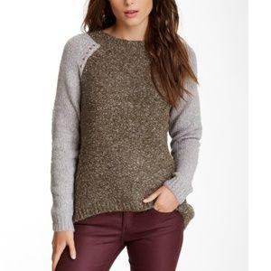LOVE STITCH Crewneck Colorblock Sweater Cozy Large